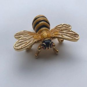 Vintage Honeybee Jewelry Trinket Box Enamel Brass